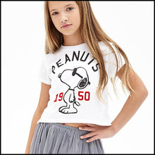 Fashionable white color custom your own label story girls flower design tshirt