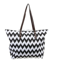 Chevron Print Canvas tote Bag with leather handle for women Chevron Tote Beach Bag chevron tote bag wholesale