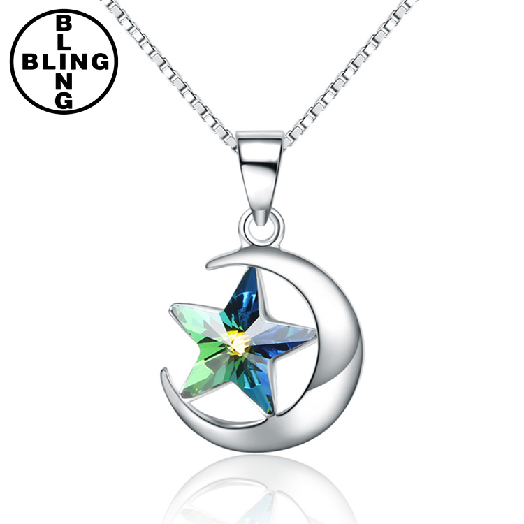 >>>925 Sterling Silver Moon rhinestone Star Pendant Necklaces Austrian Crystal for Women Genuine Silver Jewelry/