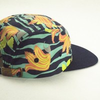 Custom floral print flat bill 5 panel sports snapback cap