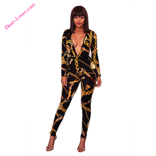 women 2017 Deep V Neck Gold Chain Print Skinny Jumpsuit party wear jumpsuits