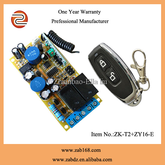 2 ch 12v dc door motor light wireless remote control switch,wireless relay switch for home appliance(ZK-T2+ ZY16-E)
