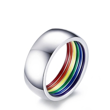Stylish simplicity high polished promotional stainless steel finger rainbow ring without gemstone