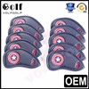 10pcs/set Blue Captain America Style Thick PU Leather Golf Club Iron HeadCovers