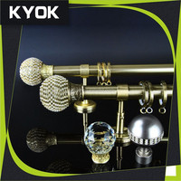 KYOK home decoration project round curtain rod bracket ,metal curtain rod bracket ,double curtain rod factory