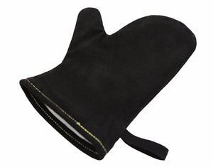 Black Oven Gloves Heat Resistant Cow Split Leather Kitchen Gloves For Grill BBQ Heat Mat bbq