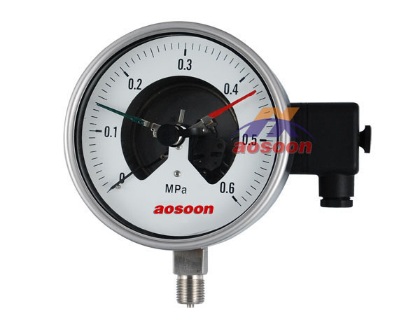 All stainless steel electric contact pressure gauge Gaseous and liquid media