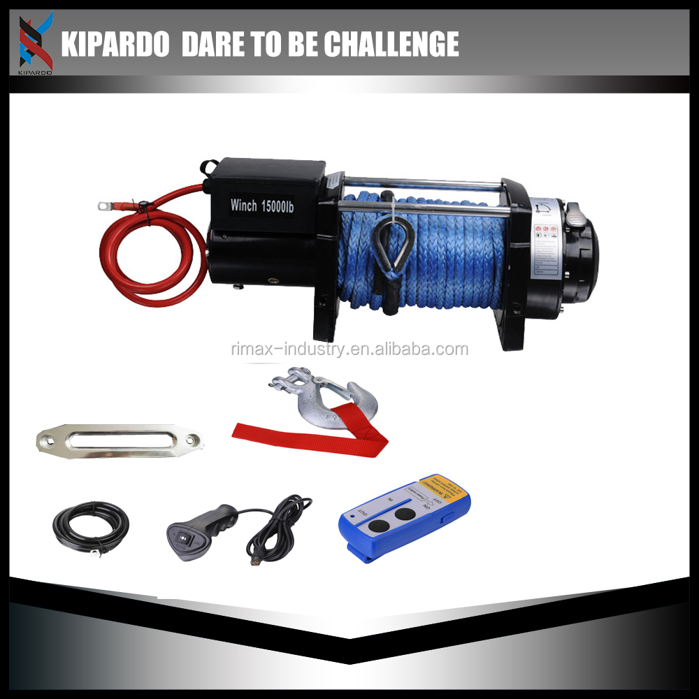 Kipardo New!! 4wd vehicles Electric Winch 15000lb cable winch 12v synthetic rope new design