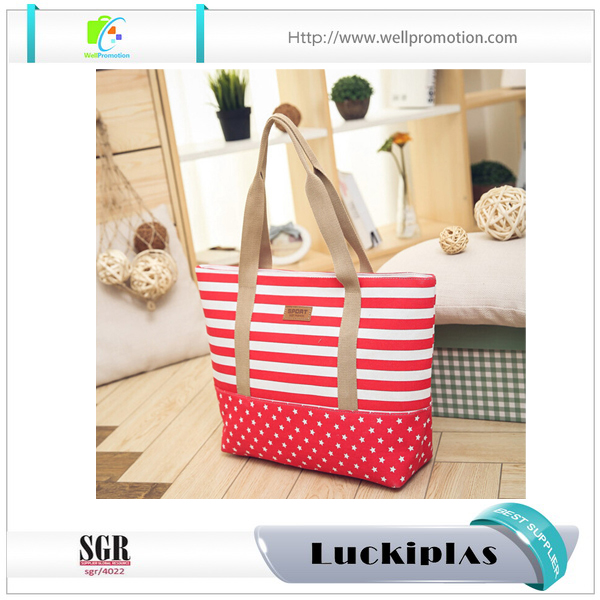 Summer stripe canvas beach tote bag wholesale