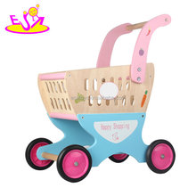 2018 Amazon best sellers pretend play wooden baby shopping cart toy with food W16E088