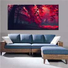 Modern Red Trees Landscape Painting