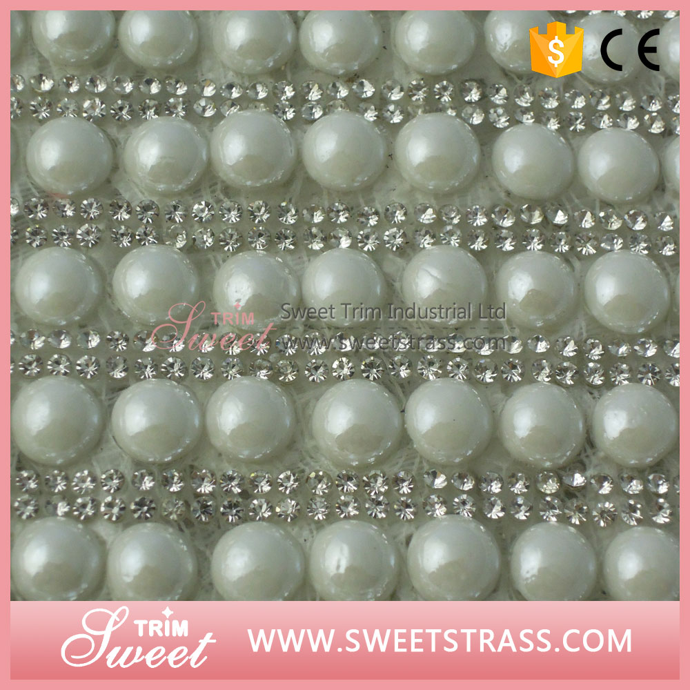 24X40cm ex-factory price pearl button and cristal strass sheet wrap roll