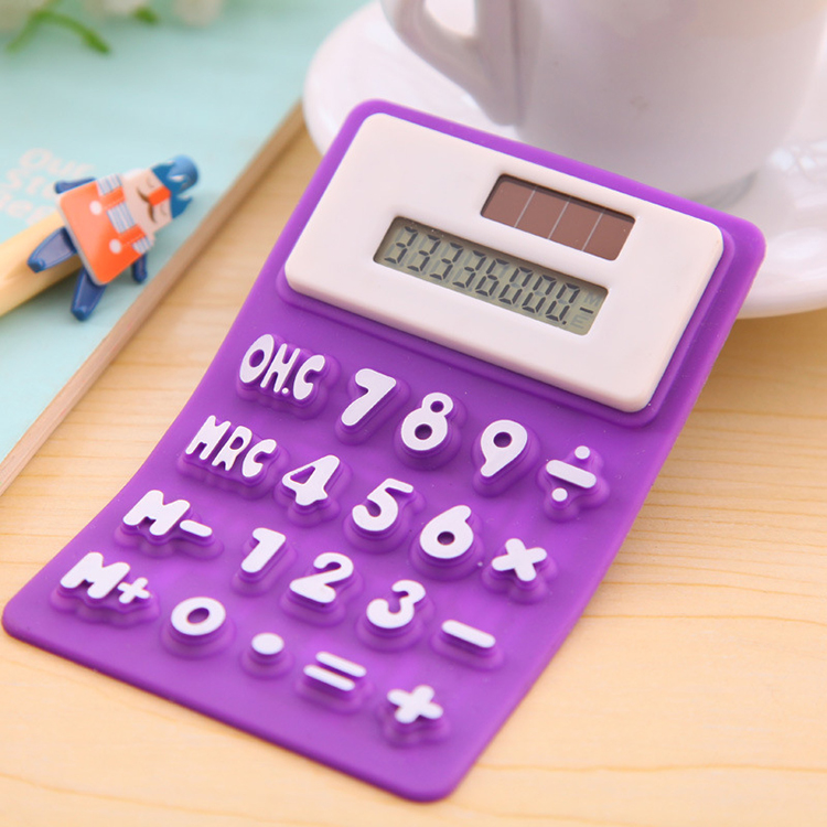 hot selling novelty foldable portable solar silicone mini calculator with magnet