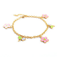 Yiwu Aceon Stainless Steel enamel lucky tag bracelet charm bracelet tattoo designs