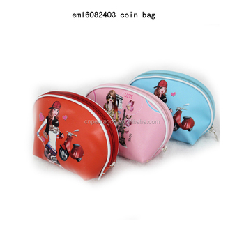 2016 new small PU leather wallet zipper coin purses