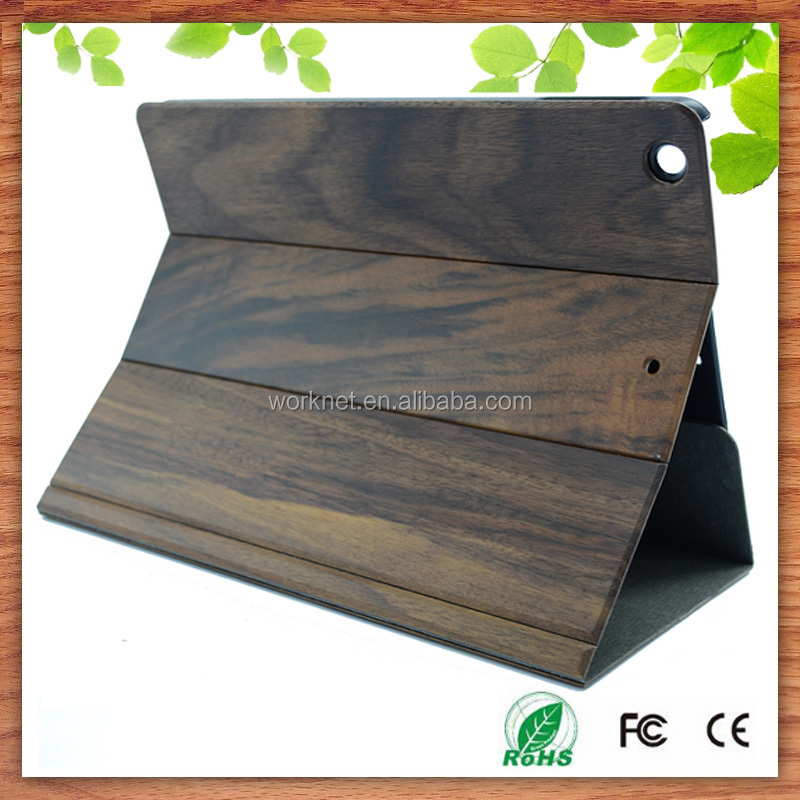 new style book shape wood flip leather case cover for ipad mini 2/3/4, wood cover case for ipad mini new products 2016