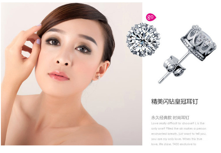 Fashion Jewelry Crown Round Shaped 2 Carat Cubic Zirconia Silver Stud Earrings for Women