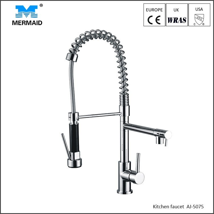 Commercial style kitchen faucet with 3 way sprayer kitchen chrome plated tap