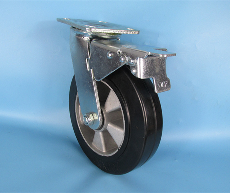 8inch 200mm heavy duty rubber swivel caster with aluminum core and total brake 6203 bearing