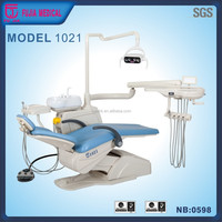 Fujia dental chair for left hand with 3-way syringe and down-hang instrument tray/ auto light off when reset
