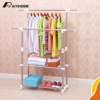 Metal Hat Coat Clothes Shoes Umbrella Steel Pipe Stand Rack Hanging Hooks Shelf