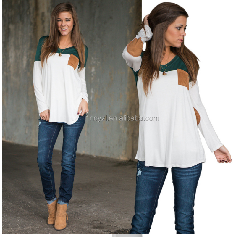 Euramerican casual style cotton montage long sleeve fat women t shirt