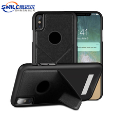 PU PC skin flip holder phone case for iphone X ,cover for iphone x case