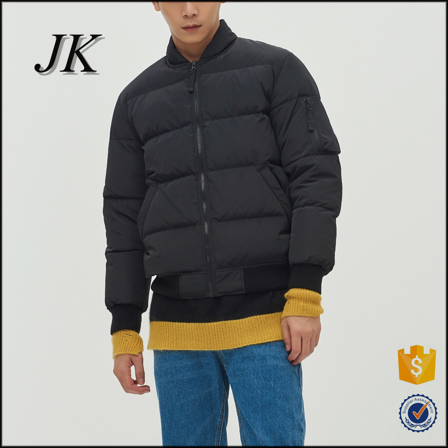 new design quilted mens winter warm puffy soft shell down bomber jacket