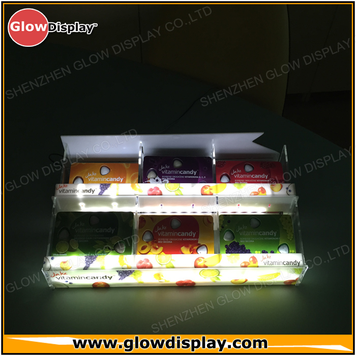 LED Acrylic Vitamin Candy Retail Display Shelf Talker