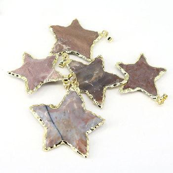 JF7203A 2018 New Silver gold plated large Rough gemstone jasper star shaped pendant