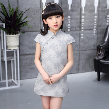 MS75413B Fancy design kids girls cheongsam lace dress