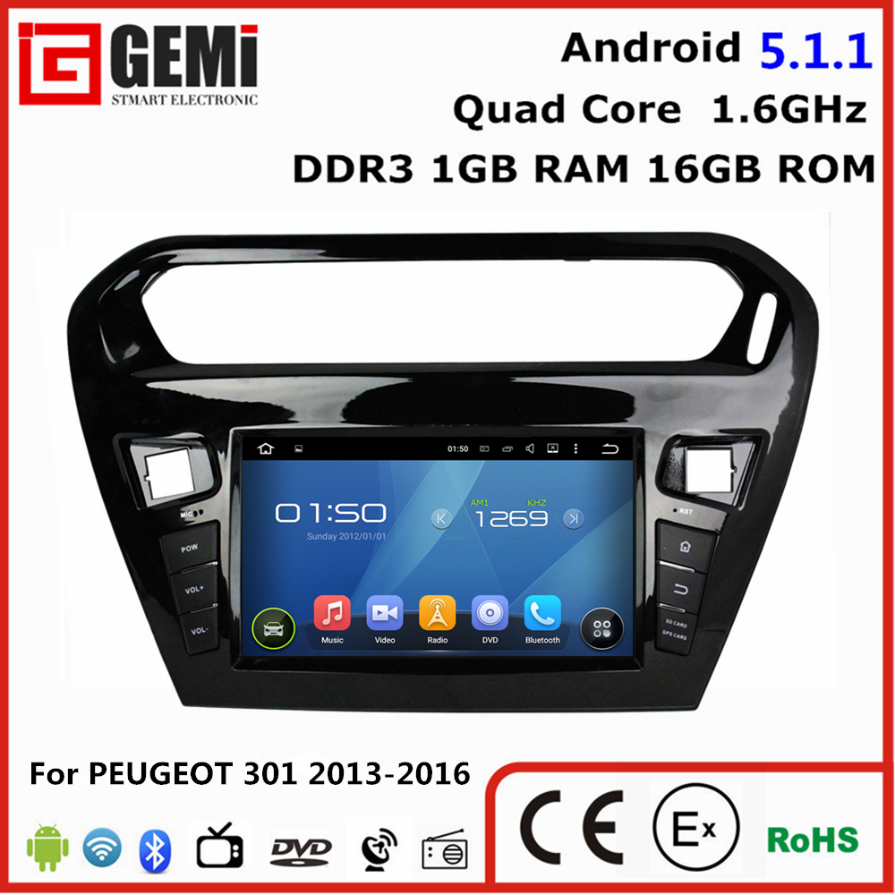 Cheap android multimedia car entertainment system Peugeot 301 2013-2016 car dvd player