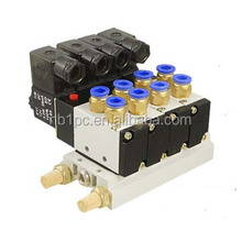 4V210-08 Dc 24V Single Head 2 Position 5 Way 4 Pneumatic Solenoid Valve w Base 4 Manifolds