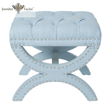 Brand name furniture supplier factory OEM ODM French style sofa set upholstered stool