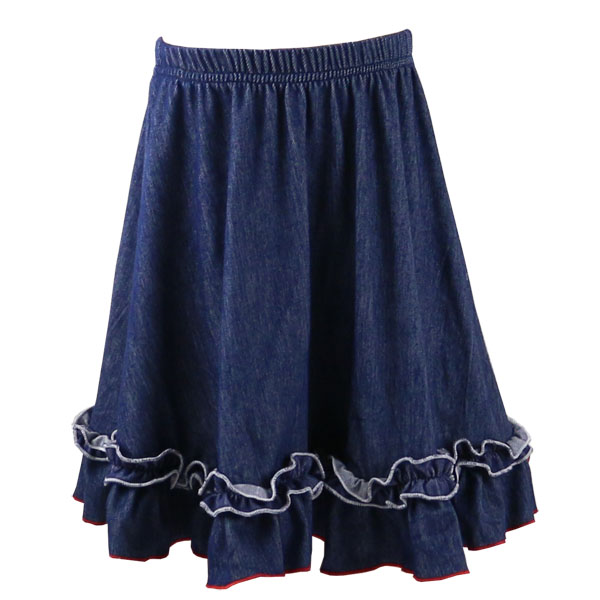 2017 Hot Sale Medium Style Denim Girls' Clothing Boutique Girls' Denim Ruffle Skirts