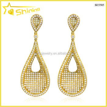whoelsale zirconia brass micro pave crystal clear drop earrings