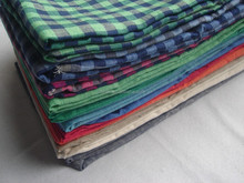 Yarn dyed checked fabric 100 % linen