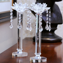 Long-stemmed Lotus Flower Shaped Crystal Candlestick with Hanging Ball
