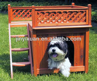 Wooden pet house with a sweet shelter and a cool balcony / Dog Kennel / Wooden dog house