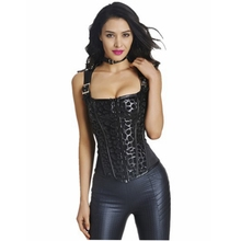 Wholesale Women's PU Faux Leather Steampunk Corset Bustier Lingerie