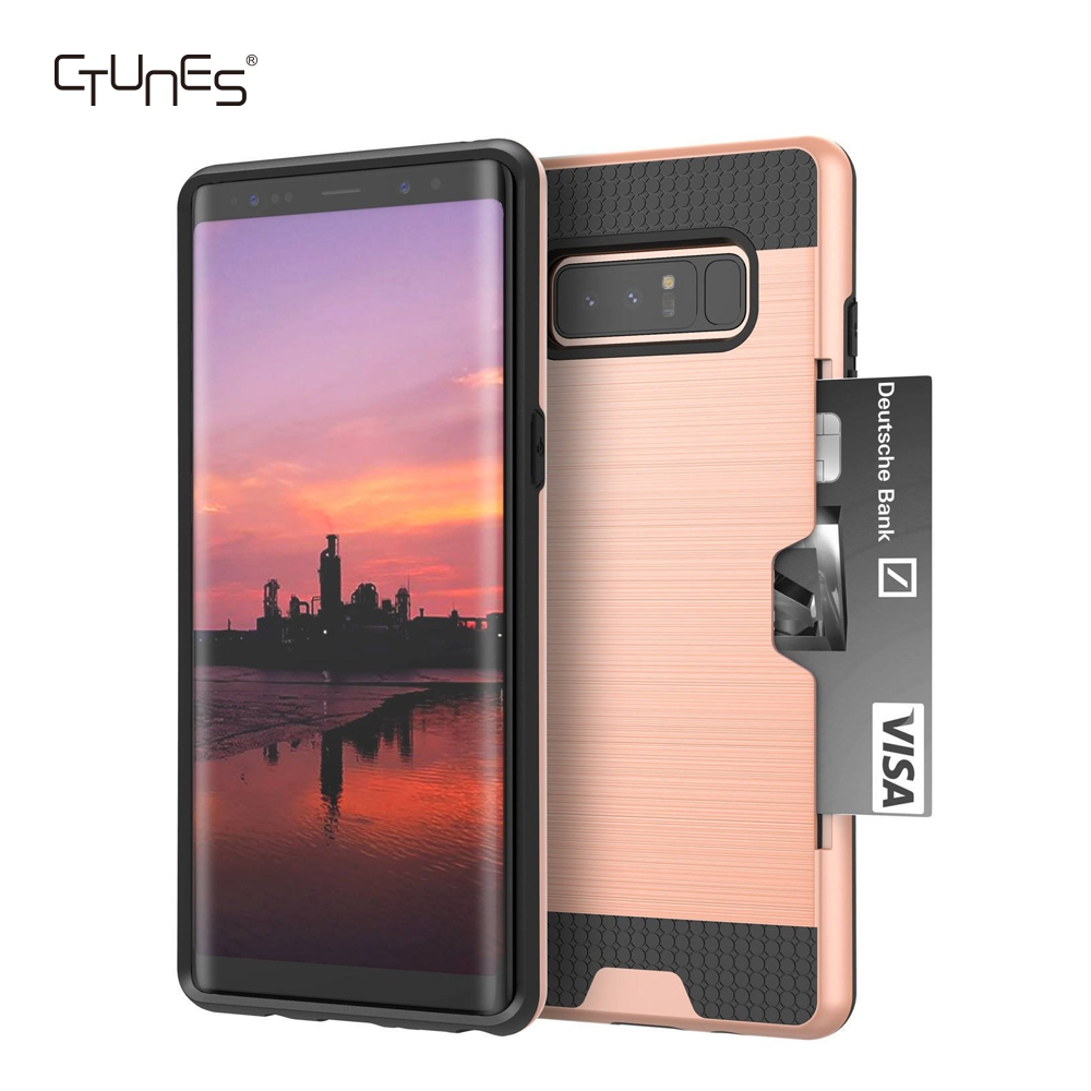CTUNES Hard Slim Shockproof Credit Card Holder Wallet Mobile Phone Case Cover For Galaxy Note 8
