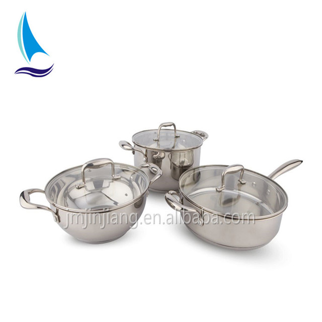 manufacturing 6pcs 0.4mm - 0.6mm body thickness stainless steel cookware set