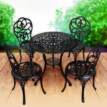 Antique Luxury Outdoor Coffee Round Wrought Iron Garden Table And Four Chairs Set