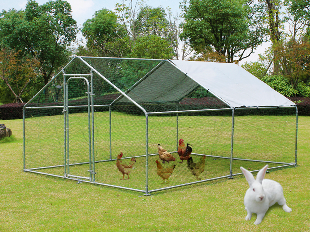 Chicken Run 13x10 ft Walk in Coop for Poultry Dog Rabbit Hen Cage Pen Metal Door