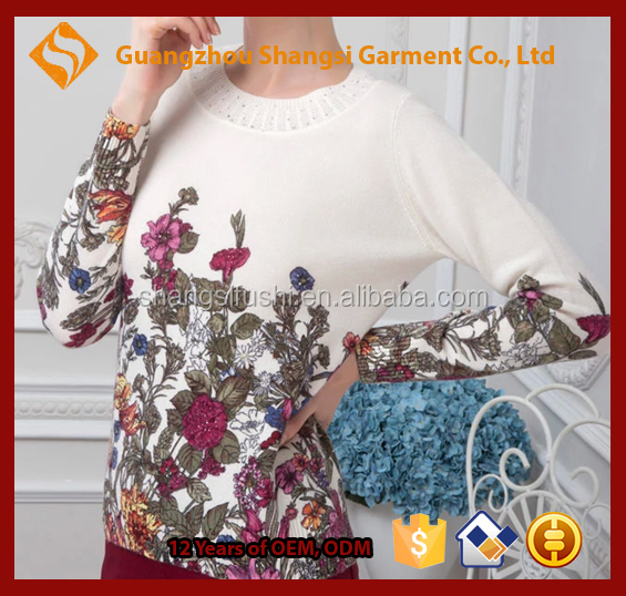 women pearl decorated collar flower print round neck long sleeve cashmere sweater