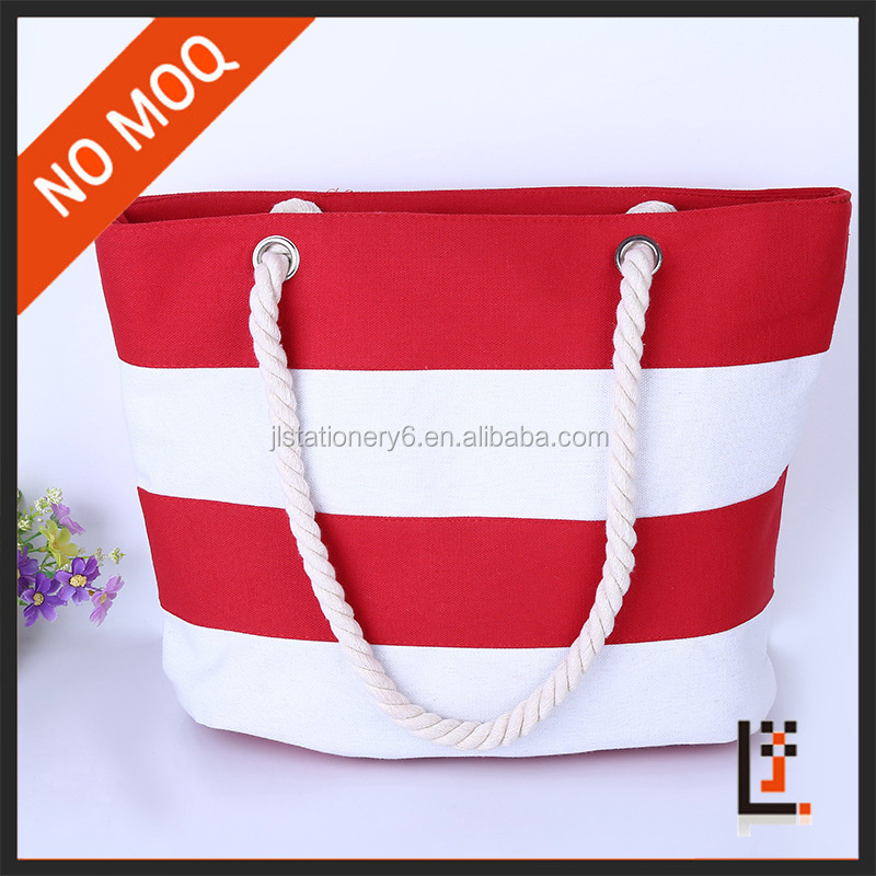 White red 10oz /12oz /14oz canvas rope handle beach bag stripe canvas beach tote bag wholesale