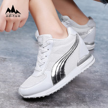 Fashion Lady Sneaker Wedge High Heel Women Invisible Height Increasing Shoes