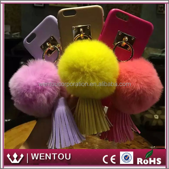 Wholesale Customized 360 Rotation Ring Stand Mount Holder Leather Tassels Pom Phone Case for Iphone