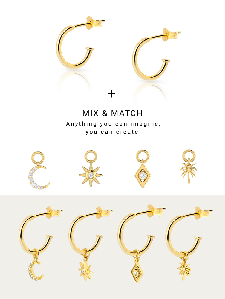 925 sterling silver fashion jewelry, alternative charms gold earring, cheap DIY earrings