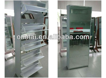 Factory stocks, living room furniture, MDF shoe cabinet with mirrors drawers